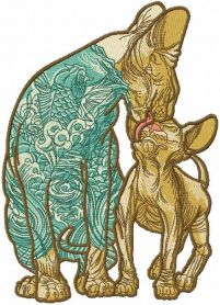 two loving modern sphynx embroidery design
