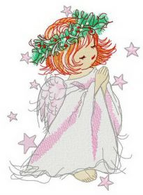 Angel with holly wreath machine embroidery design