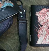 Leather cover with dream time embroidery design