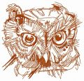 Wild owl head one color embroidery design