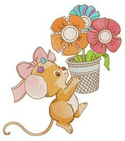 Mousekin with flower pot machine embroidery design