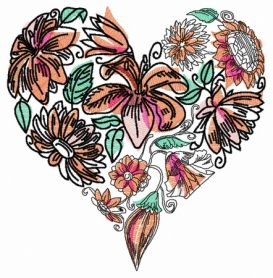 Floral heart 4 machine embroidery design