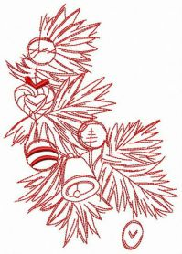 Branch of X-mas tree machine embroidery design