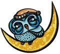 Sleepy owl on the moon embroidery design