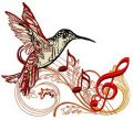 Musical humming-bird 2 embroidery design