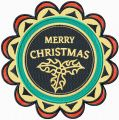 Merry Christmas round label 2  embroidery design