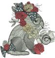 Bunny with flower decoration embroidery design