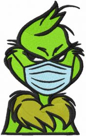 Grinch wearing a face mask embroidery design