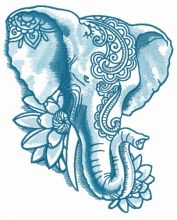 Indian elephant with lotus 2