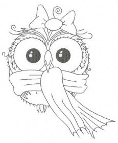 Owl in warm scarf 2 machine embroidery design