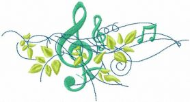 Treble clef with green leaves free machine embroidery design
