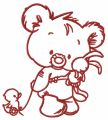 Baby bear with toy 5 embroidery design