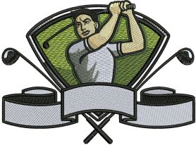 Golfer embroidery design 2