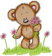 Cute Teddy collect flowers