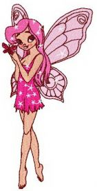 Young pink fairy machine embroidery design