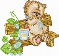 Teddy Bear on the Bench in the Garden embroidery design