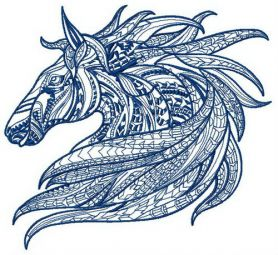 Mosaic horse 3 machine embroidery design