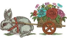 Bunny and cart with flowers