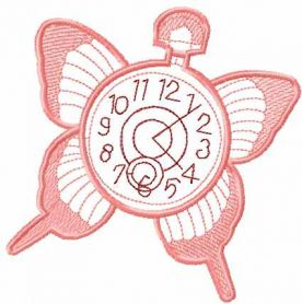 Clock butterfly free embroidery design
