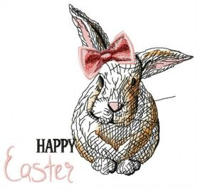 Happy Easter, bunny girl machine embroidery design