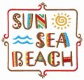 Sun, sea, beach embroidery design