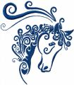 Horse head free machine embroidery design