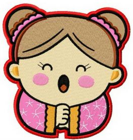 Japanese girl machine embroidery design