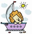 Baby lion sailing embroidery design