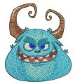 Blue horny monster's muzzle embroidery design