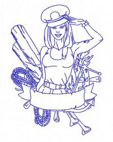 Sexy girl ship captain 3 machine embroidery design