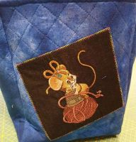 Creative bag with sewing mouse embroidery design