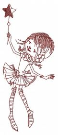Dancing with magic wand one color machine embroidery design