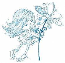 Tiny girl with magic flower sketch