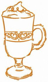 Glass of latte macchiato machine embroidery design