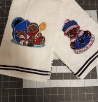 Towels with Christmas gingerbread embroidery design