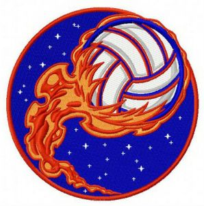 Volleyball ball in flame