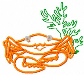 Crab free machine embroidery design