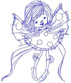 Flying fairy redwork embroidery design