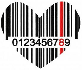 Heart barcode machine embroidery design