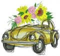 Yellow car with sunflowers embroidery design