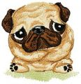 Pug-dog embroidery design