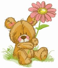 Cute teddy bear with pyrethrum