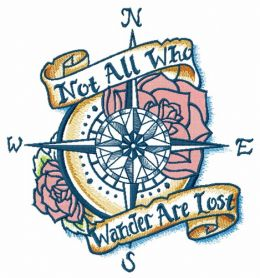 Compass and motto machine embroidery design