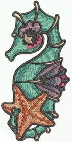 Sea horse and star machine embroidery design