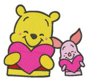 Pooh and Piglet with Valentine cards