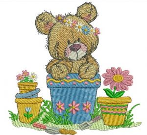 Teddy bear in flower pot