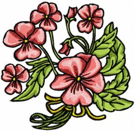 Pink Flowers machine embroidery design