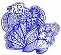 Blue decoration embroidery design