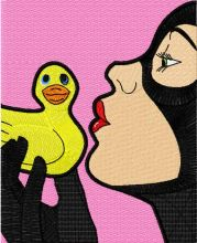 Catwoman kissing the rubber duck