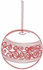 Chrristmas red ball embroidery design